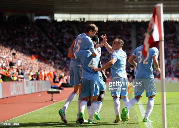 Peter Crouch of Stoke City FC celebrates scoring a goal during the Premier League match between Southampton and Stoke City at St Mary's Stadium on...