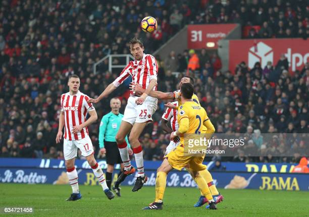Peter Crouch of Stoke City heads the ball during the Premier League match between Stoke City and Crystal Palace at Bet365 Stadium on February 11 2017...