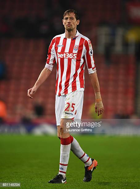 Peter Crouch of Stoke City looks dejected during The Emirates FA Cup Third Round match between Stoke City and Wolverhampton Wanderers at Bet365...