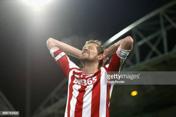 Peter Crouch of Stoke City reacts during the Premier League match between Huddersfield Town and Stoke City at John Smith's Stadium on December 26...
