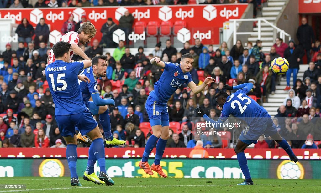 Peter Crouch of Stoke City scores his sides second goal during the Premier League match between Stoke City and Leicester City at Bet365 Stadium on November 4, 2017 in Stoke on Trent, England.