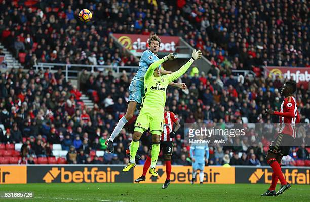 Peter Crouch of Stoke City scores his sides third goal during the Premier League match between Sunderland and Stoke City at Stadium of Light on...