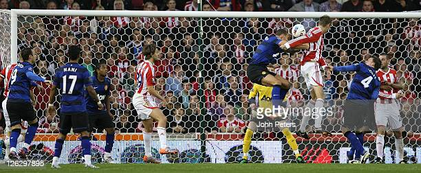 Peter Crouch of Stoke City scores their first goal during the Barclays Premier League match between Stoke City and Manchester United at Britannia...