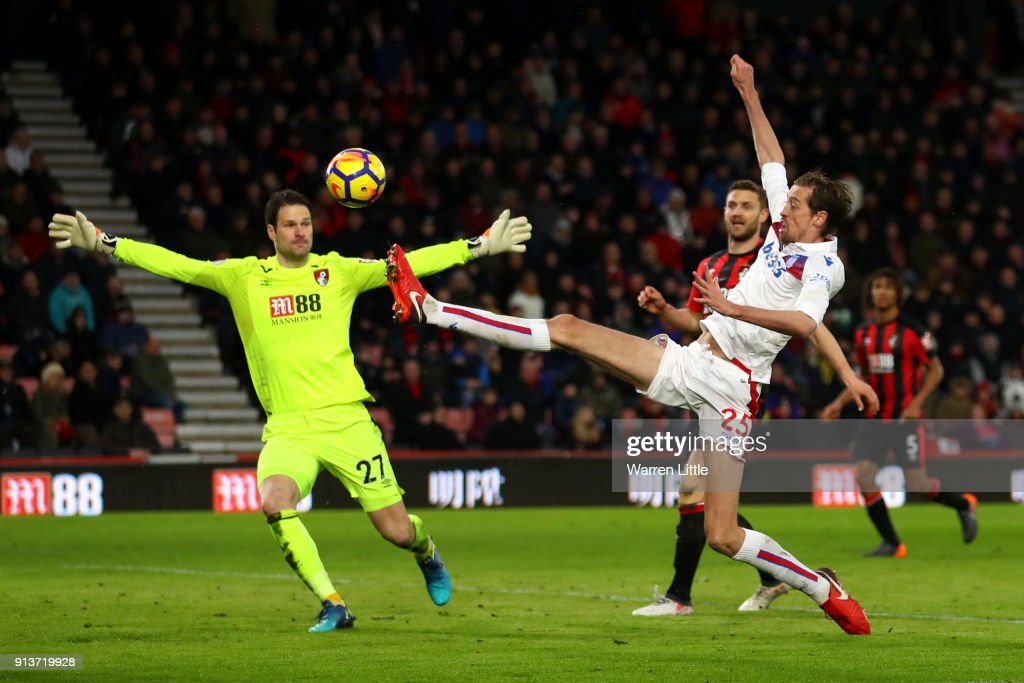 Peter Crouch of Stoke City shoots and misses during the Premier League match between AFC Bournemouth and Stoke City at Vitality Stadium on February 3, 2018 in Bournemouth, England.