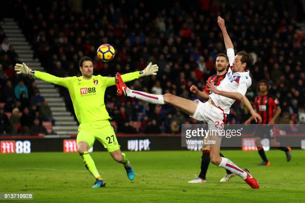 Peter Crouch of Stoke City shoots and misses during the Premier League match between AFC Bournemouth and Stoke City at Vitality Stadium on February 3...
