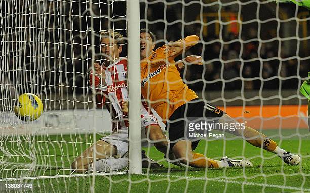 Peter Crouch of Stoke scores to make it 21 during the Barclays Premier League match between Wolverhampton Wanderers and Stoke City at Molineux on...