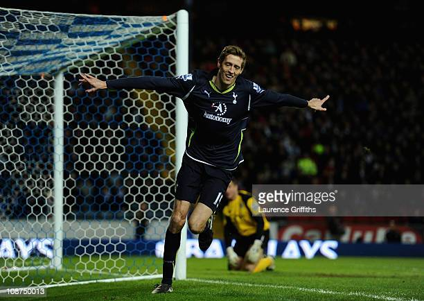 Peter Crouch of Tottenham Hotspur celebrates scoring the opening goal during the Barclays Premier League match between Blackburn Rovers and Tottenham...