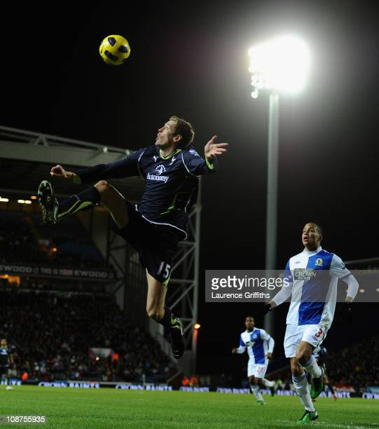 Peter Crouch of Tottenham Hotspur in action during the Barclays Premier League match between Blackburn Rovers and Tottenham Hotspur at Ewood Park on...