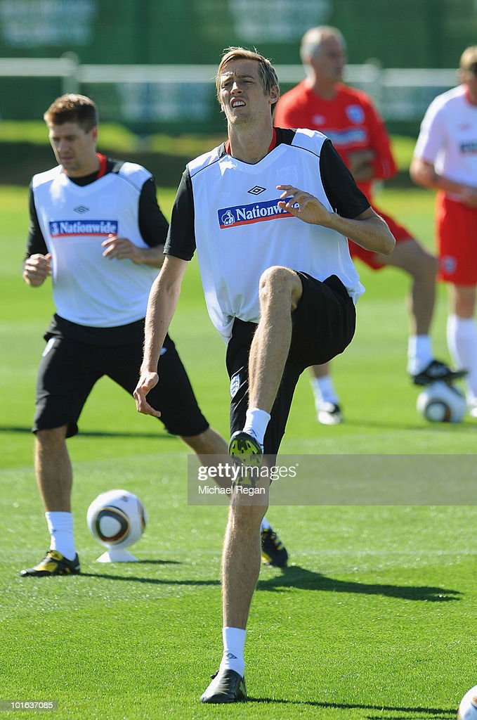 Peter Crouch warms up during the England training session at the Royal Bafokeng Sports Campus on June 5, 2010 in Rustenburg, South Africa.