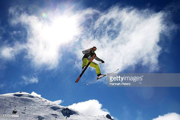 Peter Csanaky of Hungary competes in the FIS Freestyle Ski Slopestyle World Cup Qualifying during day nine of the Winter Games NZ at Cardrona Alpine...