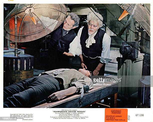 Peter Cushing and Thorley Walters in a scene from the film 'Frankenstein Created Woman' 1967