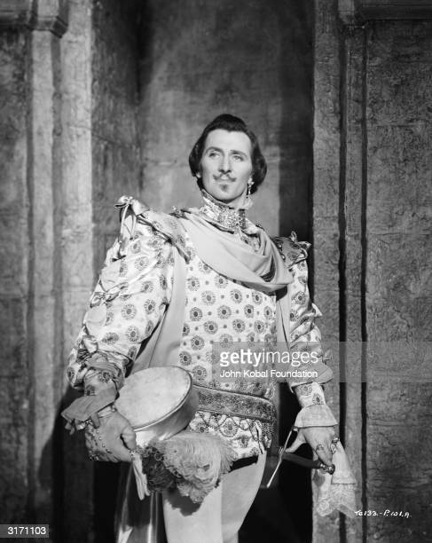 Peter Cushing as Osric in the 1948 production of 'Hamlet', directed by Laurence Olivier for Two Cities/Pilgrim Pictures.