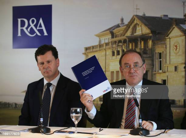Peter Dawson, Chief Executive of The R&A and David Rickman, Executive Director of Rules and Equipment Standards at The R&A, speak to the media during...