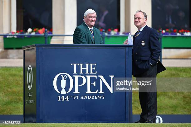 Peter Dawson, Chief Executive of The R&A and first tee announcer Ivor Robson look on prior to the Champion Golfers' Challenge ahead of the 144th Open...