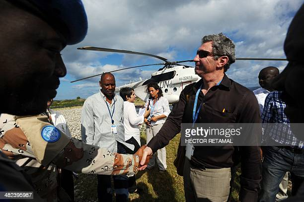 Peter de Clercq Deputy Special Representative for the United Nations Stabilization Mission in Haiti is seen in Baie des Moustiques Port de Paix on...
