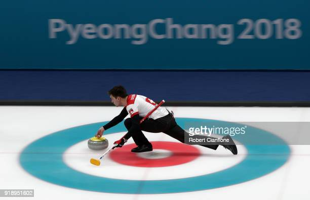 Peter De Cruz of Switzerland competes in the Curling Men's Round Robin Session 5 held at Gangneung Curling Centre on February 16 2018 in Gangneung...