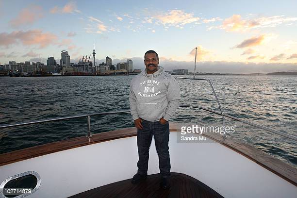 Peter De Villiers Coach of the South African Springboks enjoys a boat ride during a day of leisure ahead of the TriNations 2010 series at Waitemata...