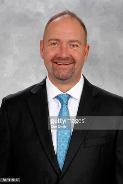 Peter DeBoer Head Coach of the San Jose Sharks poses for his official headshot for the 201718 season on September 14 2017 at Sharks Ice in San Jose...