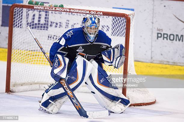 Peter Delmas of the Lewiston Maineiacs stands ready during the game against the Rouyn-Noranda Huskies at the Dave Keon Arena on October 19, 2007 in...