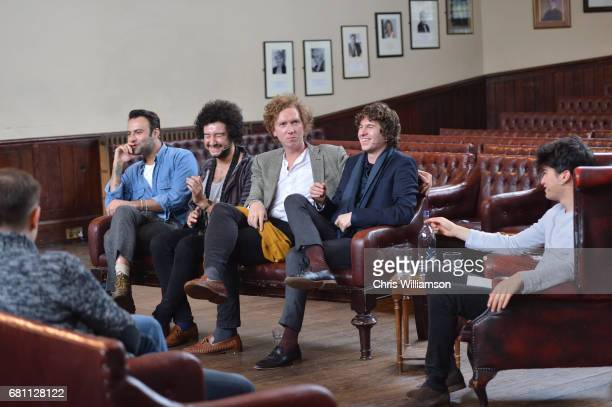 Peter Denton Alexis Nunez Hugh Harris and Luke Pritchard of The Kooks speaks at The Cambridge Union on May 9 2017 in Cambridge Cambridgeshire