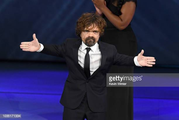 Peter Dinklage accepts the Outstanding Supporting Actor in a Drama Series award for 'Game of Thrones' onstage during the 70th Emmy Awards at...
