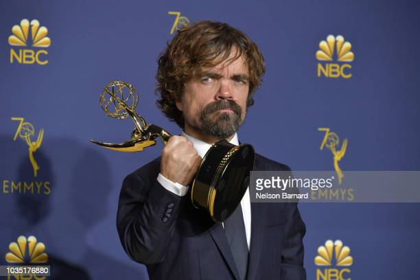 Peter Dinklage accepts the Outstanding Supporting Actor in a Drama Series award for 'Game of Thrones' during the 70th Emmy Awards on September 17,...