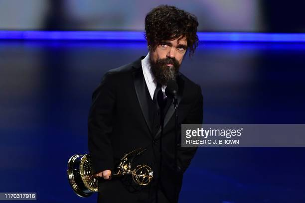 """Peter Dinklage accepts the Outstanding Supporting Actor in a Drama Series award for """"Game of Thrones"""" onstage during the 71st Emmy Awards at the..."""