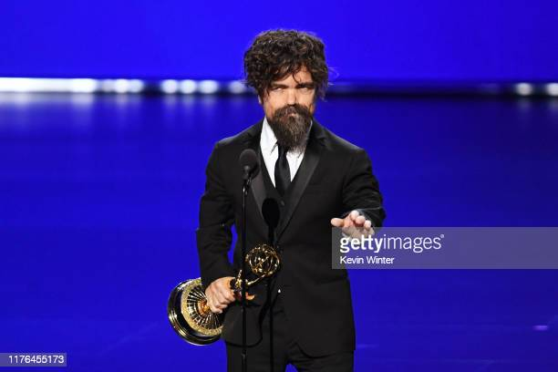 Peter Dinklage accepts the Outstanding Supporting Actor in a Drama Series award for 'Game of Thrones' onstage during the 71st Emmy Awards at...