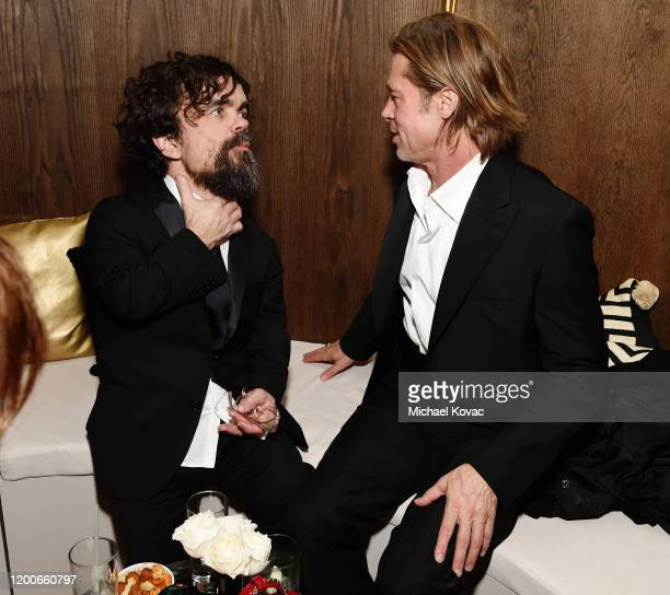 Peter Dinklage and Brad Pitt attend 2020 Netflix SAG After Party at Sunset Tower on January 19 2020 in Los Angeles California