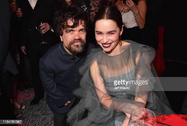 Peter Dinklage and Emilia Clarke attend the Game Of Thrones Season 8 NY Premiere After Party on April 3 2019 in New York City