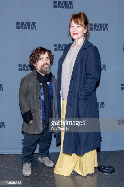 Peter Dinklage and Erica Schmidt attend Medea Opening Night at BAM Harvey Theater on January 30 2020 in New York City