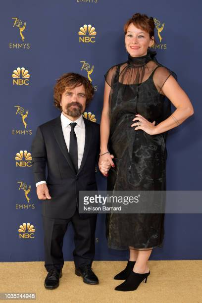 Peter Dinklage and Erica Schmidt attend the 70th Emmy Awards at Microsoft Theater on September 17 2018 in Los Angeles California