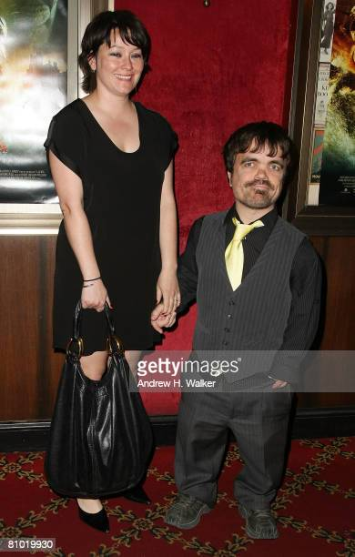 Peter Dinklage and his wife attend the world premiere of The Chronicles of Narnia Prince Caspian at the Ziegfeld Theatre on May 7 2008 in New York...