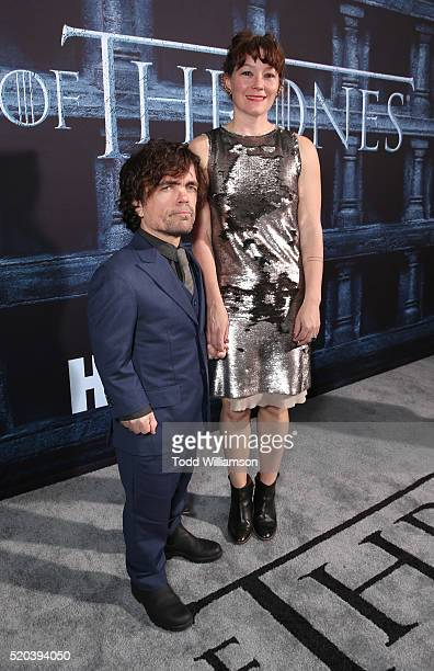 Peter Dinklage and wife attend the premiere of HBO's Game Of Thrones Season 6 at TCL Chinese Theatre on April 10 2016 in Hollywood California