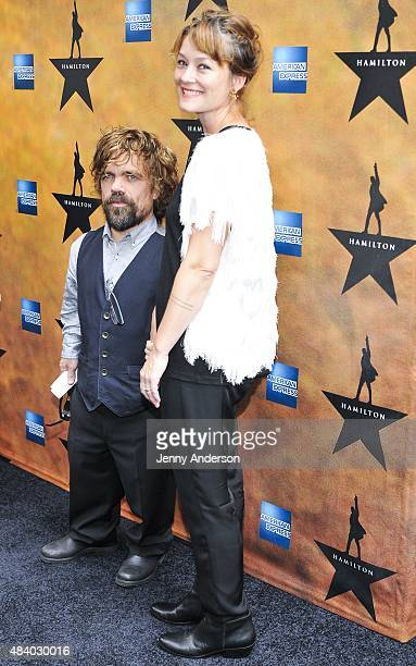 Peter Dinklage and wife Erica Schmidt attend Hamilton Broadway Opening Night at Richard Rodgers Theatre on August 6 2015 in New York City