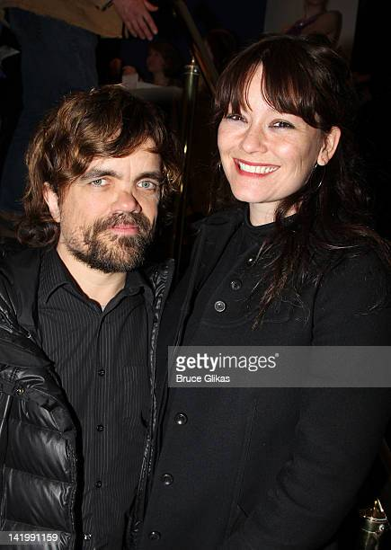 Peter Dinklage and wife Erica Schmidt attend Regrets OffBroadway opening night arrivals at Manhattan Theater Club City Center Stage 1 on March 27...
