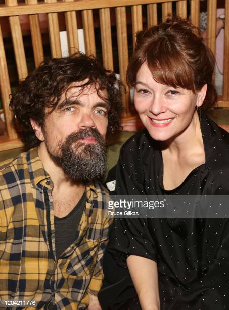 Peter Dinklage and wife Erica Schmidt pose at the opening night party for the new musical Bob Carol Ted Alice at Green Fig Urban Eatery at Yotel on...