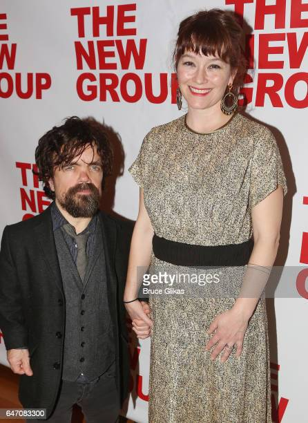 Peter Dinklage and wife Playwright/Director Erica Schmidt pose at the Opening Night for The New Group's new play All the Fine Boys at Green Fig Urban...