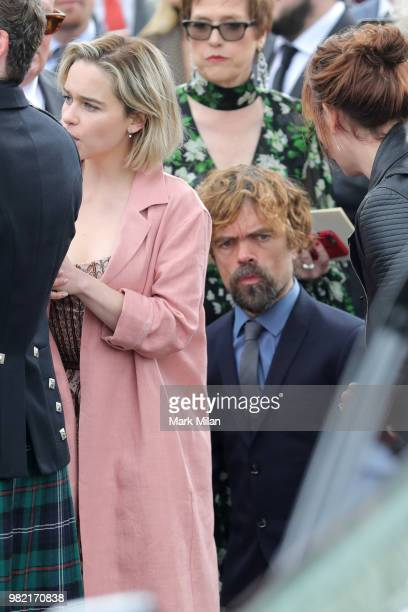 Peter Dinklage arriving at Rayne Church in Kirkton on Rayne for the wedding of Kit Harrington and Rose Leslie on June 23 2018 in Aberdeen Scotland