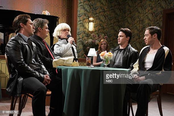 LIVE Peter Dinklage Episode 1699 Pictured Beck Bennett Bobby Moynihan Peter Dinklage Jon Rudnitsky and Pete Davidson during the Mafia Meeting sketch...