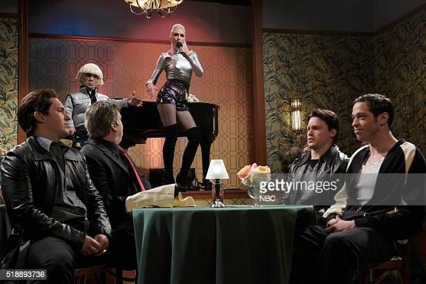 LIVE Peter Dinklage Episode 1699 Pictured Beck Bennett Peter Dinklage Bobby Moynihan Gwen Stefani Jon Rudnitsky and Pete Davidson during the Mafia...