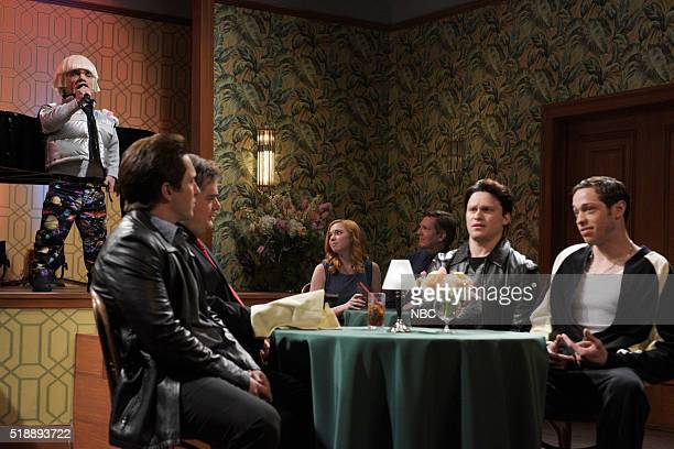 LIVE Peter Dinklage Episode 1699 Pictured Peter Dinklage Beck Bennett Bobby Moynihan Jon Rudnitsky and Pete Davidson during the Mafia Meeting sketch...