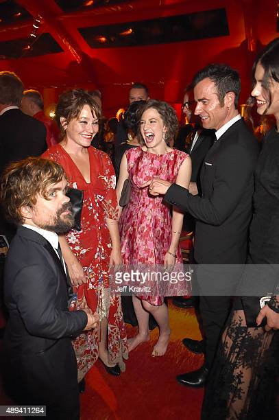 Peter Dinklage Erica Schmidt Carrie Coon Justin Theroux and Margaret Qualley attend HBO's Official 2015 Emmy After Party at The Plaza at the Pacific...