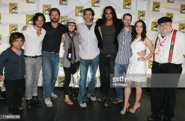 Peter Dinklage Kit Harington Nikolaj CosterWaldau Lena HeadeyDavid Benioff Jason Momoa DB Weiss Emilia Clarke and George RR Martin attend HBO's 'Game...