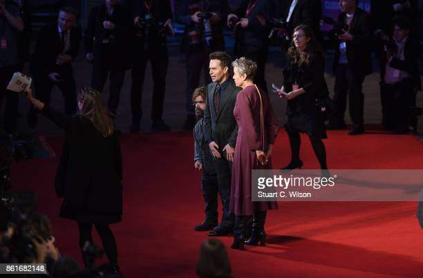Peter Dinklage Sam Rockwell and Frances McDormand attend the UK Premiere of Three Billboards Outside Ebbing Missouri at the closing night gala of the...