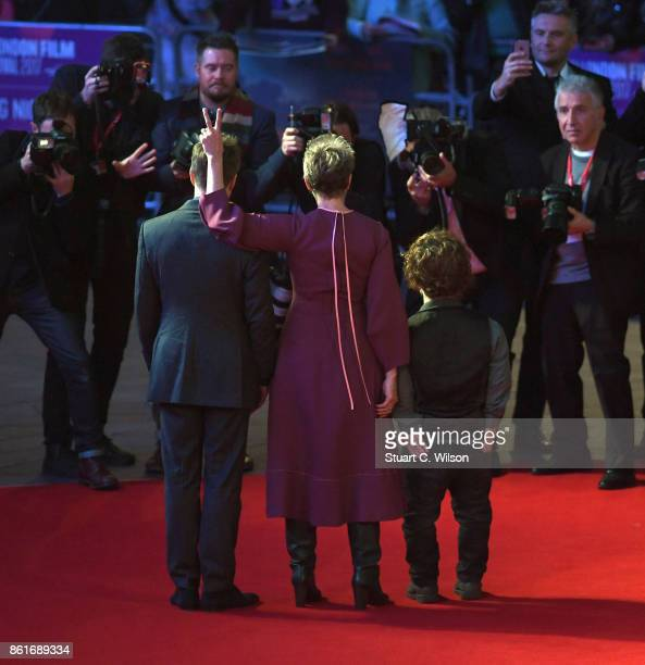 Peter Dinklage Sam Rockwell and Frances McDormand attend the UK Premiere of 'Three Billboards Outside Ebbing Missouri' at the closing night gala of...