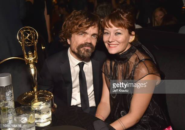 Peter Dinklage winner of the award forOutstanding Supporting Actor in a Drama Series for Game of Thrones and Erica Schmidt attend HBO's Official 2018...