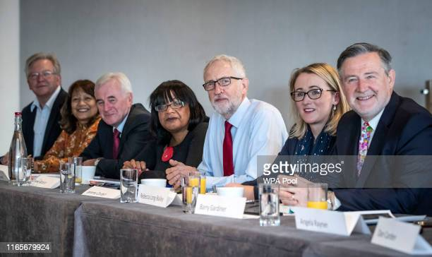 Peter Dowd Valerie Vaz John McDonnell Diane Abbot Jeremy Corbyn Rebecca LongBailey and Barry Gardiner attend a shadow cabinet meeting at the Lowry...