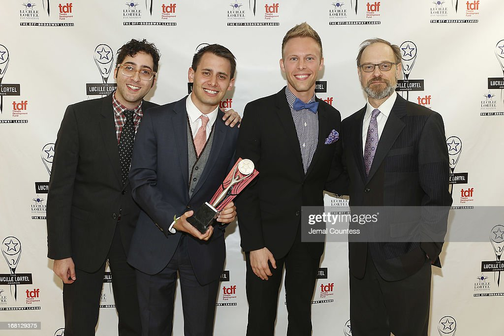 Peter Duchan, Benj Pasek and Justin Paul of 'Dogfight' pose with David Hyde Pierce backstage at the 28th Annual Lucille Lortel Awards on May 5, 2013 in New York City.