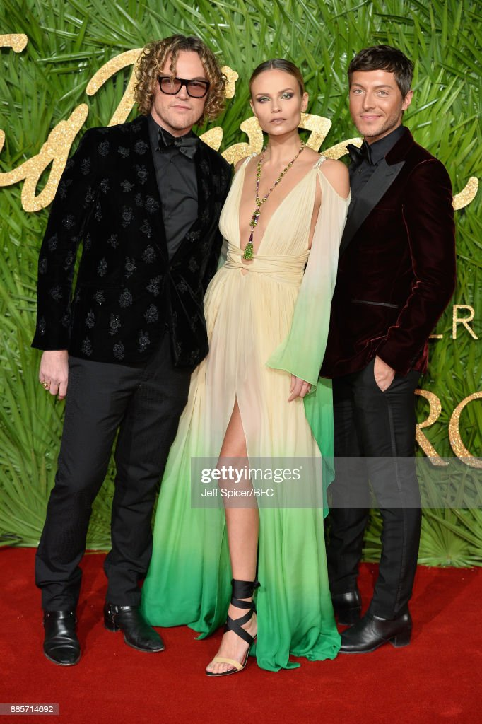 Peter Dundas, Natasha Poly and Evangelo Bousis attend The Fashion Awards 2017 in partnership with Swarovski at Royal Albert Hall on December 4, 2017 in London, England.